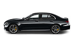 Car Driver side profile view of a 2021 Mercedes Benz E-Class 63-S-AMG 4 Door Sedan Side View