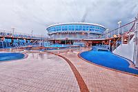 Rain covers the pool deck of the cruise ship Emerald Princess.