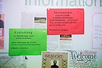 """Informationstafel mit allgemeinen Hinweisen in einer berliner Fluechtlingsunterkunft. Angeboten wird u.a. eine Wanderung durch Hohenschoenhausen. """"Sie lernen Menschen und schoene Plaetze kennen."""" - """"You can meet people an nice places in this area.""""<br /> 27.11.2015, Berlin<br /> Copyright: Christian-Ditsch.de<br /> [Inhaltsveraendernde Manipulation des Fotos nur nach ausdruecklicher Genehmigung des Fotografen. Vereinbarungen ueber Abtretung von Persoenlichkeitsrechten/Model Release der abgebildeten Person/Personen liegen nicht vor. NO MODEL RELEASE! Nur fuer Redaktionelle Zwecke. Don't publish without copyright Christian-Ditsch.de, Veroeffentlichung nur mit Fotografennennung, sowie gegen Honorar, MwSt. und Beleg. Konto: I N G - D i B a, IBAN DE58500105175400192269, BIC INGDDEFFXXX, Kontakt: post@christian-ditsch.de<br /> Bei der Bearbeitung der Dateiinformationen darf die Urheberkennzeichnung in den EXIF- und  IPTC-Daten nicht entfernt werden, diese sind in digitalen Medien nach §95c UrhG rechtlich geschuetzt. Der Urhebervermerk wird gemaess §13 UrhG verlangt.]"""
