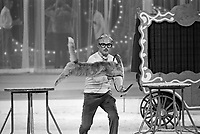 """Actor Jack Cassidy in action as Ringmaster with jumping cat at the """"Circus of the Stars,"""" (CBS Special), Santa Monica Civic Auditorium, November, 1976. Photo by John G. Zimmerman"""
