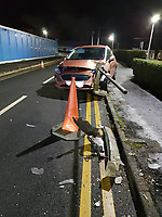 2019 01 24 Car impaled by railing in Morriston Hospital, Swansea, UK