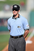 Umpire Travis Eggert before a game between the San Antonio Missions and Arkansas Travelers on May 25, 2014 at Dickey-Stephens Park in Little Rock, Arkansas.  (Mike Janes/Four Seam Images)