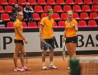 The Netherlands, Den Bosch, 16.04.2014. Fed Cup Netherlands-Japan, practice  Arantxa Rus (L) (NED) captain Paul Haarhuis and Kiki Bertens (NED)<br /> Photo:Tennisimages/Henk Koster
