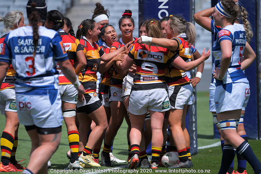 Waikato players celebrate Mia Anderson's try during the Farah Palmer Cup women's rugby union match between Auckland Storm and Waikato at Eden Park in Auckland, New Zealand on Sunday, 18 October 2020. Photo: Dave Lintott / lintottphoto.co.nz