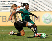 FC Gold Pride defender Carrie Dew (19) and Saint Louis Athletica forward Enoila Aluko (9) during a WPS match at Anheuser-Busch Soccer Park, in St. Louis, MO, July 26, 2009.  The match ended in a 1-1 tie.