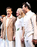 """Will Chase, Kelli O'Hara, Corbin Bleu during the Broadway Opening Night Curtain Call for """"Kiss Me, Kate""""  at Studio 54 on March 14, 2019 in New York City."""