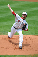 Boston Red Sox pitcher Clay Buchholz #11 in a rehab appearance with the Pawtucket Red Sox versus the Syracuse Chiefs at McCoy Stadium in Pawtucket, Rhode Island on July 8, 2012.  (Ken Babbitt/Four Seam Images)