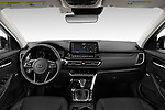 Stock photo of straight dashboard view of 2021 KIA Seltos SX 5 Door SUV Dashboard