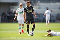 LOS ANGELES, CA - APRIL 17: Danny Musovski #16 of LAFC during a game between Austin FC and Los Angeles FC at Banc of California Stadium on April 17, 2021 in Los Angeles, California.