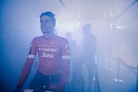 Jasper Stuyven (BEL/Trek-Segafredo) at the pre-race team presentation in the legendary Kuipke Velodrome<br /> <br /> <br /> Omloop Het Nieuwsblad 2018<br /> Gent › Meerbeke: 196km (BELGIUM)