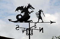 BNPS.co.uk (01202 558833)<br /> Pic: ZacharyCulpin/BNPS<br /> <br /> Pictured: St George slaying the dragon<br /> <br /> Something in the wind..<br /> <br /> While Covid caused much of the world to slow down, business has been booming for weathervane maker Graham Smith.<br /> <br /> The former precision engineer has been so busy he has been working seven days a week and has had to close his books to new orders.<br /> <br /> Graham hand-crafts all his weathervanes, creating intricate designs and can even recreate families or significant events.<br /> <br /> With people stuck at home in lockdown and looking at DIY and home improvements, he said he has had his busiest year.