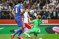 8th September 2021; PGE National Stadium, Warsaw, Poland: FIFA World Cup 2022 Football qualification, Poland versus England;  HARRY MAGIURE watches as ROBERT LEWANDOWSKI heads towards goal but saved by JORDAN PICKFORD