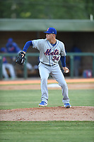 Kingsport Mets relief pitcher Hector Rodriguez (34) delivers a pitch during a game against the Elizabethton Twins at Northeast Community Credit Union Ballpark on July 5, 2019 in Elizabethton, Tennessee. The Twins defeated the Mets 7-1. (Tracy Proffitt/Four Seam Images)