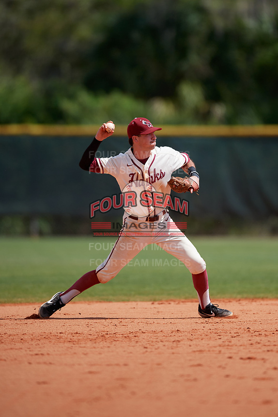 Saint Joseph's Hawks shortstop Matt Cuppari (23) throws to first base during a game against the Ball State Cardinals on March 9, 2019 at North Charlotte Regional Park in Port Charlotte, Florida.  Ball State defeated Saint Joseph's 7-5.  (Mike Janes/Four Seam Images)
