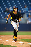 Bradenton Marauders shortstop Cole Tucker (3) runs to first base during a game against the Tampa Yankees on April 15, 2017 at George M. Steinbrenner Field in Tampa, Florida.  Tampa defeated Bradenton 3-2.  (Mike Janes/Four Seam Images)