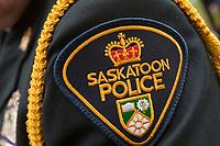 Saskatoon Police badge is seen during a police memorial parade in Ottawa Sunday September 26, 2010.
