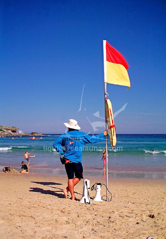 Life Guard on duty at Bondi Beach.