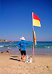 Life Guard on duty at Bondi Beach.