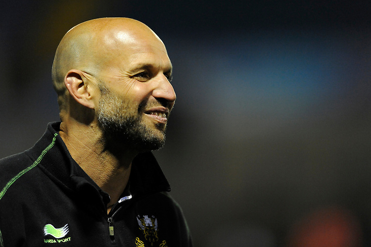 Jim Mallinder, Northampton Saints Director of Rugby, enjoys the feeling but looks ahead to the Premiership Rugby Final next Saturday on Friday 23rd May 2014 (Photo by Rob Munro)