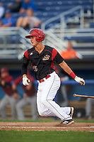 Batavia Muckdogs designated hitter Branden Berry (35) at bat during the first game of a doubleheader against the Mahoning Valley Scrappers on August 17, 2016 at Dwyer Stadium in Batavia, New York.  Mahoning Valley defeated Batavia 10-3. (Mike Janes/Four Seam Images)