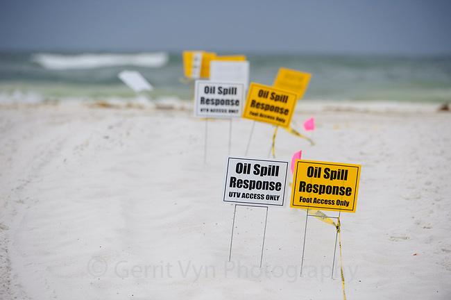 Oil spill signage on the beach. Gulf Islands National Seashore, Florida. June 2010.