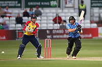 Luke Wright in batting action for Sussex as Will Buttleman looks on from behind the stumps during Essex Eagles vs Sussex Sharks, Vitality Blast T20 Cricket at The Cloudfm County Ground on 15th June 2021