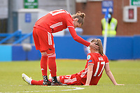 2nd May 2021; Kingsmeadow, London, England; Simone Laudehr FCB, is consoled by team mate Klara Buhl FCB after their loss in the UEFA Womens Champions League, Chelsea FC versus FC Bayern Munich