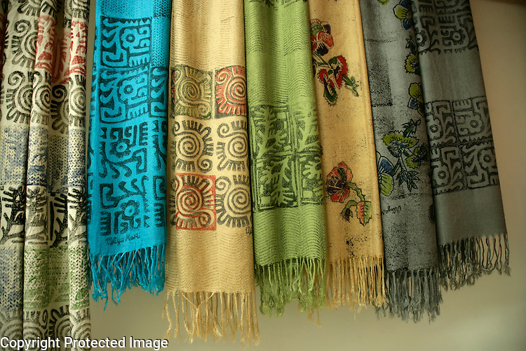 Yazmas (traditional textile scarves) hand printed by Veliye Ozdemir Marti in Istanbul, Turkey,
