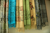Yazmas (traditional textile scarves) hand printed by Veliye Ozdemir Marti in Istanbul, Turkey,