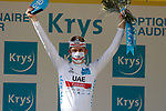 Race leader Tadej Pogacar (SLO) UAE Team Emirates also retains the young riders White Jersey at the end of Stage 15 of the 2021 Tour de France, running 191.3km from Céret to Andorre-La-Vieille, Andorra. 11th July 2021.  <br /> Picture: Colin Flockton | Cyclefile<br /> <br /> All photos usage must carry mandatory copyright credit (© Cyclefile | Colin Flockton)