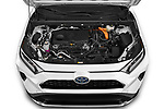 Car Stock 2021 Toyota RAV4-Prime SE 5 Door SUV Engine  high angle detail view