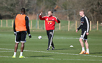 Pictured: Manager Garry Monk (C). Saturday 08 March 2014<br /> Re: Swansea City FC training at the Fairwood Training ground in the outskirts of Swansea, south Wales.
