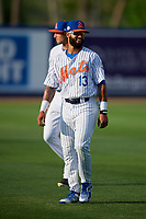St. Lucie Mets Manny Rodriguez (13) during warmups before a Florida State League game against the Florida Fire Frogs on April 12, 2019 at First Data Field in St. Lucie, Florida.  Florida defeated St. Lucie 10-7.  (Mike Janes/Four Seam Images)
