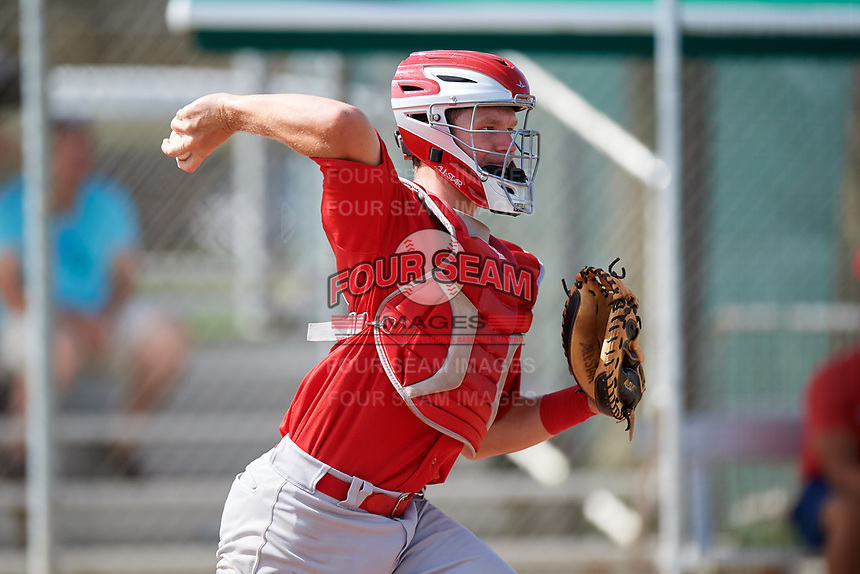 GCL Cardinals catcher Zach Jackson (39) throws to second base during a game against the GCL Mets on July 23, 2017 at Roger Dean Stadium Complex in Jupiter, Florida.  GCL Cardinals defeated the GCL Mets 5-3.  (Mike Janes/Four Seam Images)