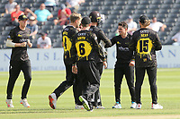 Graeme van Buuren celebrates with his team mates after taking the wicket of Josh Rymell during Gloucestershire vs Essex Eagles, Royal London One-Day Cup Cricket at the Bristol County Ground on 3rd August 2021