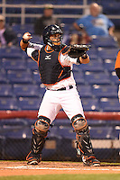 Binghamton Mets catcher Xorge Carrillo (44) during a game against the Bowie Baysox on August 3, 2014 at NYSEG Stadium in Binghamton, New York.  Bowie defeated Binghamton 8-2.  (Mike Janes/Four Seam Images)