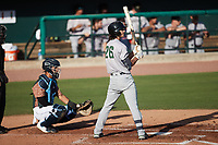 Stephen Paolini (26) of the Augusta GreenJackets at bat against the Charleston Boiled Peanuts at Joseph P. Riley, Jr. Park on June 26, 2021 in Charleston, South Carolina. (Brian Westerholt/Four Seam Images)