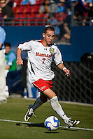 Maryland forward Casey Townsend (7) dribbles the ball.  Maryland Terrapins defeated North Carolina Tar Heels 1-0 to win the NCAA Men's College Cup at Pizza Hut Park in Frisco, TX on December 14, 2008.  Photo by Wendy Larsen/isiphotos.com