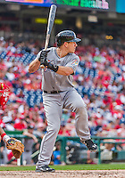 30 August 2015: Miami Marlins catcher J.T. Realmuto pinch hits in the 9th inning against the Washington Nationals at Nationals Park in Washington, DC. The Nationals rallied to defeat the Marlins 7-4 in the third game of their 3-game weekend series. Mandatory Credit: Ed Wolfstein Photo *** RAW (NEF) Image File Available ***