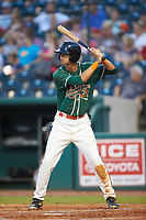 Connor Scott (23) of the Greensboro Grasshoppers at bat against the West Virginia Power at First National Bank Field on August 9, 2018 in Greensboro, North Carolina. The Power defeated the Grasshoppers 9-7 in game two of a double-header. (Brian Westerholt/Four Seam Images)
