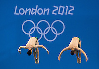 30 JUL 2012 - LONDON, GBR - Patrick Hausding (GER) and Sascha Klein (GER) of Germany diving during the Mens 10m Synchronised Diving at the London 2012 Olympic Games event in the Aquatics Centre in the Olympic Park, Stratford, London, Great Britain .(PHOTO (C) 2012 NIGEL FARROW)
