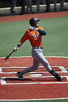 Chase Keng (4) of the UTSA Roadrunners follows through on his swing against the Charlotte 49ers at Hayes Stadium on April 18, 2021 in Charlotte, North Carolina. (Brian Westerholt/Four Seam Images)