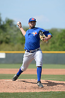 Toronto Blue Jays pitcher Dusty Isaacs (21) during a minor league spring training game against the Pittsburgh Pirates on March 21, 2015 at Pirate City in Bradenton, Florida.  (Mike Janes/Four Seam Images)