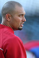 Shane Victorino #18 of the Philadelphia Phillies before a game against the Los Angeles Dodgers at Dodger Stadium on July 16, 2012 in Los Angeles, California. Philadelphia defeated Los Angeles 3-2. (Larry Goren/Four Seam Images)