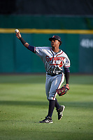 Gwinnett Braves left fielder Ronald Acuna (24) warms up before a game against the Buffalo Bisons on August 19, 2017 at Coca-Cola Field in Buffalo, New York.  Gwinnett defeated Buffalo 1-0.  (Mike Janes/Four Seam Images)