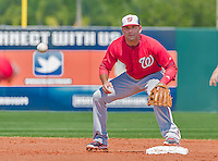 20 March 2015: Washington Nationals outfielder Danny Espinosa gets the lead runner Jose Altuve out at second but his throw cannot complete the double-play during Spring Training action against the Houston Astros at Osceola County Stadium in Kissimmee, Florida. The Nationals defeated the Astros 7-5 in Grapefruit League play. Mandatory Credit: Ed Wolfstein Photo *** RAW (NEF) Image File Available ***