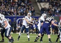 SAN FRANCISCO, CA - December 27, 2013: BYU Cougars quarterback Taysom Hill (4) during the 2013 Kraft Fight Hunger Bowl where the Washington Huskies and the BYU Cougars at AT&T Park in San Francisco, California. Final score Washington Huskies 31, BYU Cougars 16.