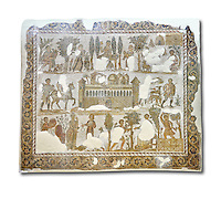 Early 5th century AD Roman mosaic depiction of the farm of Seigneur Julius . From Cathage, Tunisia.  The Bardo Museum, Tunis, Tunisia. White background