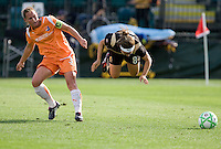 Christie Rampone (3) trips up Tiffany Weimer (8). FC Gold Pride defeated Sky Blue FC 1-0 at Buck Shaw Stadium in Santa Clara, California on May 3, 2009.