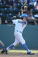 Kevin Kramer (7) of the UCLA Bruins bats during a game against the Hofstra Pride at Jackie Robinson Stadium on March 14, 2015 in Los Angeles, California. UCLA defeated Hofstra, 18-1. (Larry Goren/Four Seam Images)